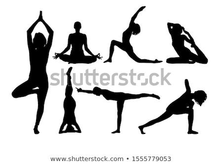 йога девочек силуэта иллюстрация женщину Сток-фото © silverrose1