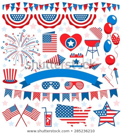 Zestaw patriotyczny flagi czerwony biały niebieski Zdjęcia stock © alexmillos