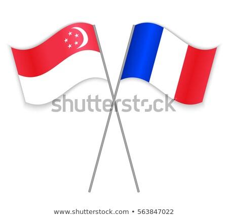 フランス シンガポール フラグ パズル 孤立した 白 ストックフォト © Istanbul2009