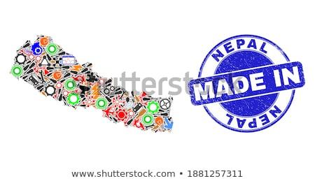 Непал стране флаг карта форма текста Сток-фото © tony4urban