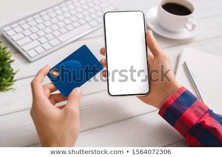 üres kártya okostelefon fa asztal asztal kártya fehér Stock fotó © cherezoff
