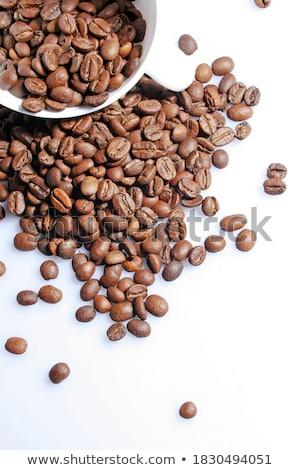 blanche · tasse · fort · matin · café · grains · de · café - photo stock © ozaiachin