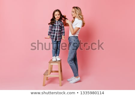 mother and daughter on  stepladder on white Stock photo © Paha_L
