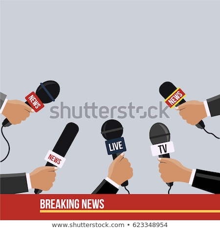 Journalist holding microphone, waiting for an interview  Stock photo © wellphoto