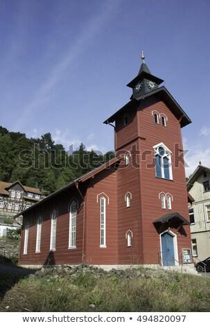 Aldeia igreja Alemanha velho vermelho Foto stock © compuinfoto