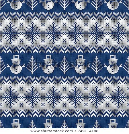 編まれた パターン クリスマス ツリー 雪 ストックフォト © carodi