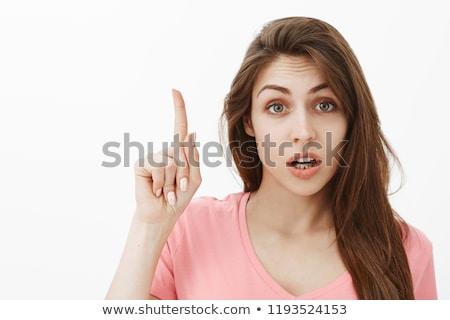 деловая женщина указательный палец виртуальный экране Сток-фото © stevanovicigor