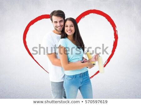 ストックフォト: 幸せ · カップル · 立って · 心臓の形態