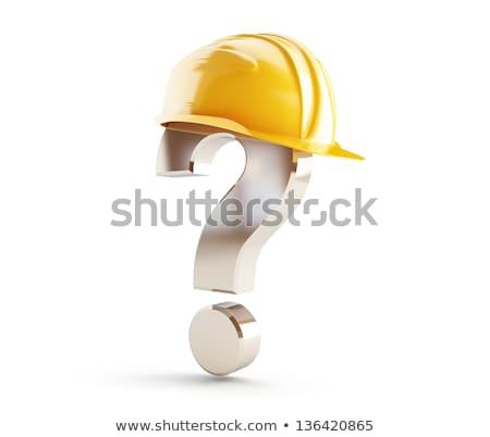 Sarı inşaat kask soru işareti ahşap masa üst Stok fotoğraf © stevanovicigor