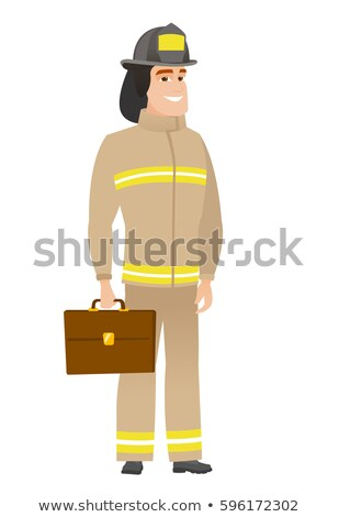 caucasian firefighter holding briefcase stock photo © rastudio