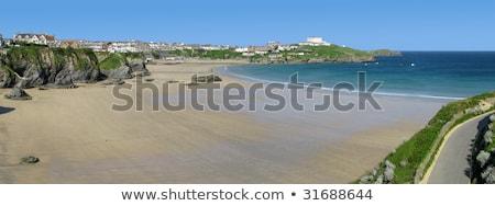 muhteşem · batı · plaj · panorama · cornwall · gökyüzü - stok fotoğraf © latent