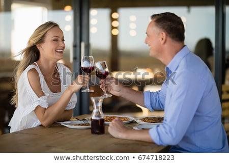 Boldog pár pirít borospohár étel étterem Stock fotó © wavebreak_media