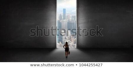 Сток-фото: вид · сзади · элегантный · силуэта · дверей · неузнаваемый · девушки