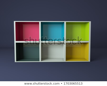Blanche tablettes montrent cas 3D Photo stock © user_11870380
