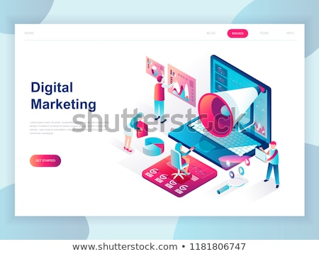 mobile marketing isometric concept stock photo © genestro