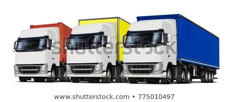 Három teherautók különböző 3d illusztráció izolált fehér Stock fotó © ssuaphoto