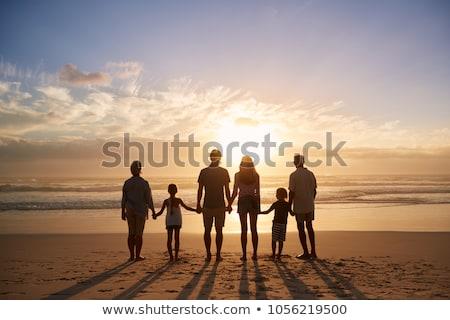 nagymama · kint · belső · udvar · baba · mosolyog · család - stock fotó © is2