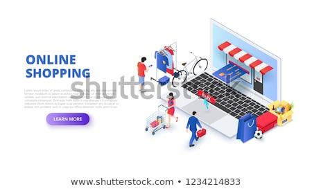 online · vásárlás · izometrikus · 3D · ikon · internet · helyszín - stock fotó © studioworkstock