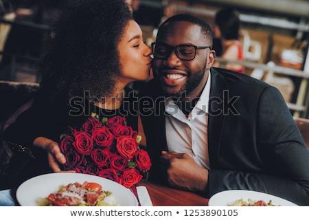 afrikai · pár · kép · visel · nő · mosoly - stock fotó © Imabase
