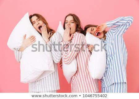Barátok alszik fű kéz a kézben férfi barátság Stock fotó © IS2