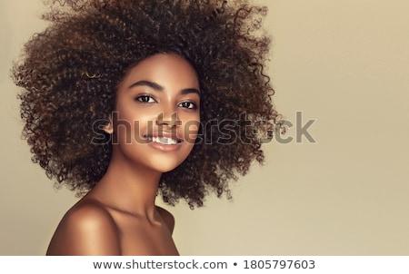portré · derűs · nő · sötét · göndör · haj · visel - stock fotó © svetography