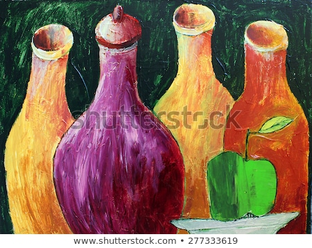 Wet green apples on canvas Stock photo © dash