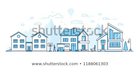 town street   modern thin line design style vector illustration stock photo © decorwithme