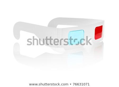 Tek kullanımlık ucuz karton 3d gözlük kırmızı mavi Stok fotoğraf © Stocksnapper