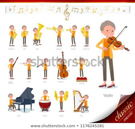 short hair old women_classic music Stock photo © toyotoyo
