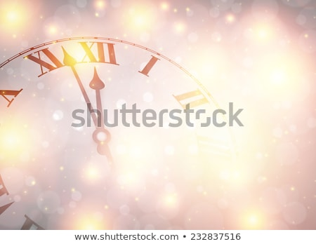 Christmas Time Background with Snowy Clock Stock photo © derocz