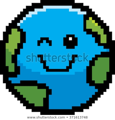 Winking 8-Bit Cartoon Planet Stock photo © cthoman