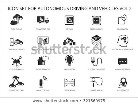 rijden · zakenman · auto · smart · technologie · iconen - stockfoto © frimufilms