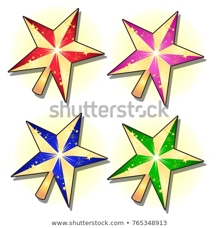 set of gold sparkling stars painted in different colors isolated on white background sketch for gre stock photo © lady-luck