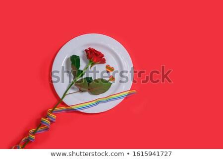 gift with gay awareness ribbon and greeting card Stock photo © dolgachov