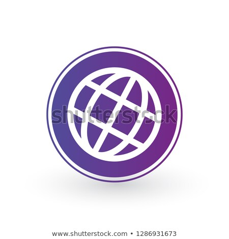 Földgömb világ ikon lila kör minimalista Stock fotó © kyryloff