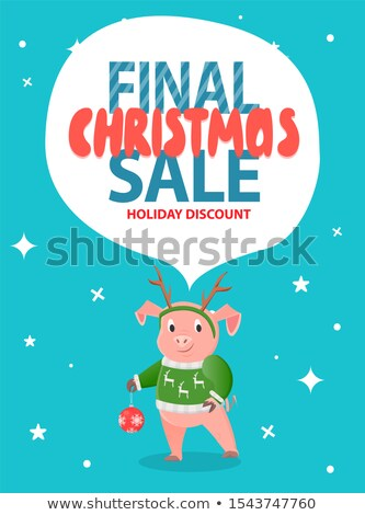 Final Christmas Sale Holiday Discount Pig in Green Stock photo © robuart