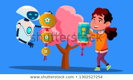 Robot kind chinese lantaarn vector Stockfoto © pikepicture