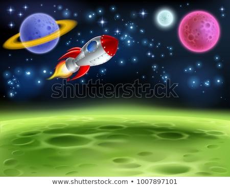 Rocketship in space scene Stock photo © bluering