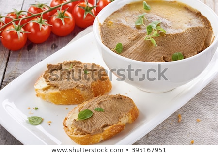 Chicken liver pate on the white plate Stock photo © Alex9500