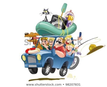 Papegaai reizen auto illustratie achtergrond kunst Stockfoto © colematt
