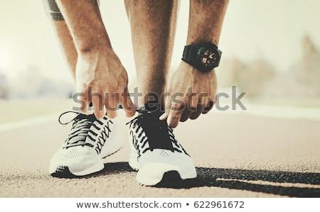 prêt · commencer · course · jeunes · musculaire · athlète - photo stock © deandrobot