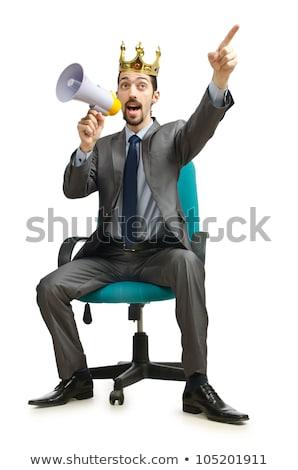 Man kroon megafoon geïsoleerd blanke man witte Stockfoto © Elnur