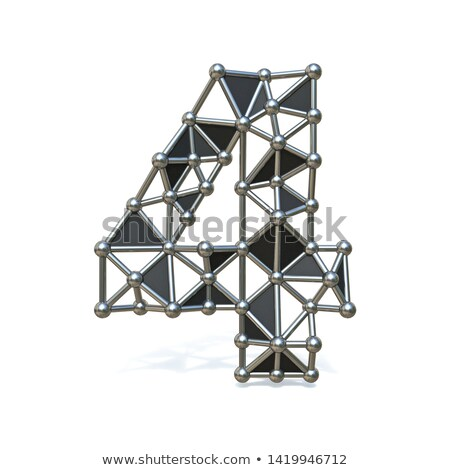 Wire low poly black metal Number 4 FOUR 3D Stock photo © djmilic