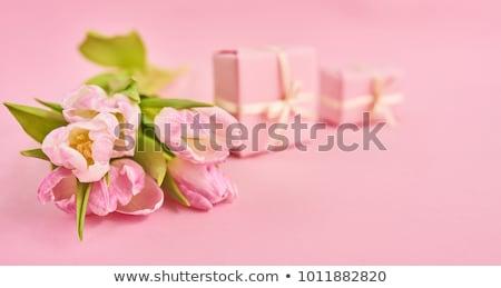 Rózsaszín rózsák piros ajándék doboz fehér szeretet Stock fotó © Melnyk
