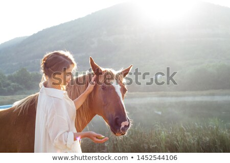 Equine Sports, Woman with Horse on Nature Lake Stock photo © robuart