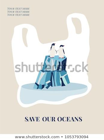ペンギン プラスチック ごみ 水 ベクトル アイソメトリック ストックフォト © leedsn