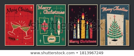 New Year card of retro mid century party drink Stock photo © cienpies
