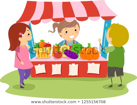 Stickman Kids Farmers Market Play Illustration Stock photo © lenm