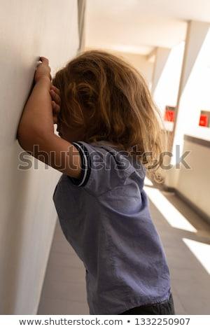 вид сбоку печально школьница стены Сток-фото © wavebreak_media