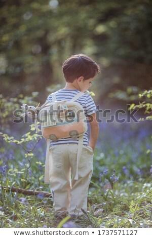 мало мальчика белый рубашку весны зеленый Сток-фото © ElenaBatkova